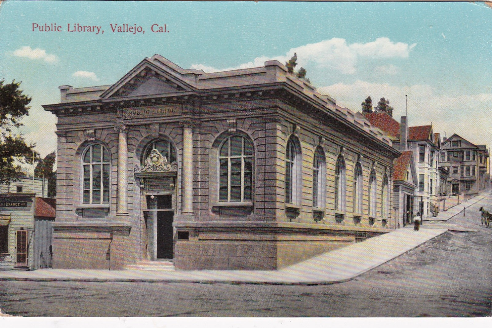 A Postcard Depicting The Original Vallejo Public Library Building, A Carnegie Library That Was Demolished In 1970.