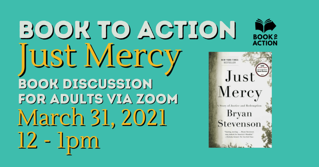 """""""Just Mercy"""" book club for adults on March 31 at 12 pm"""