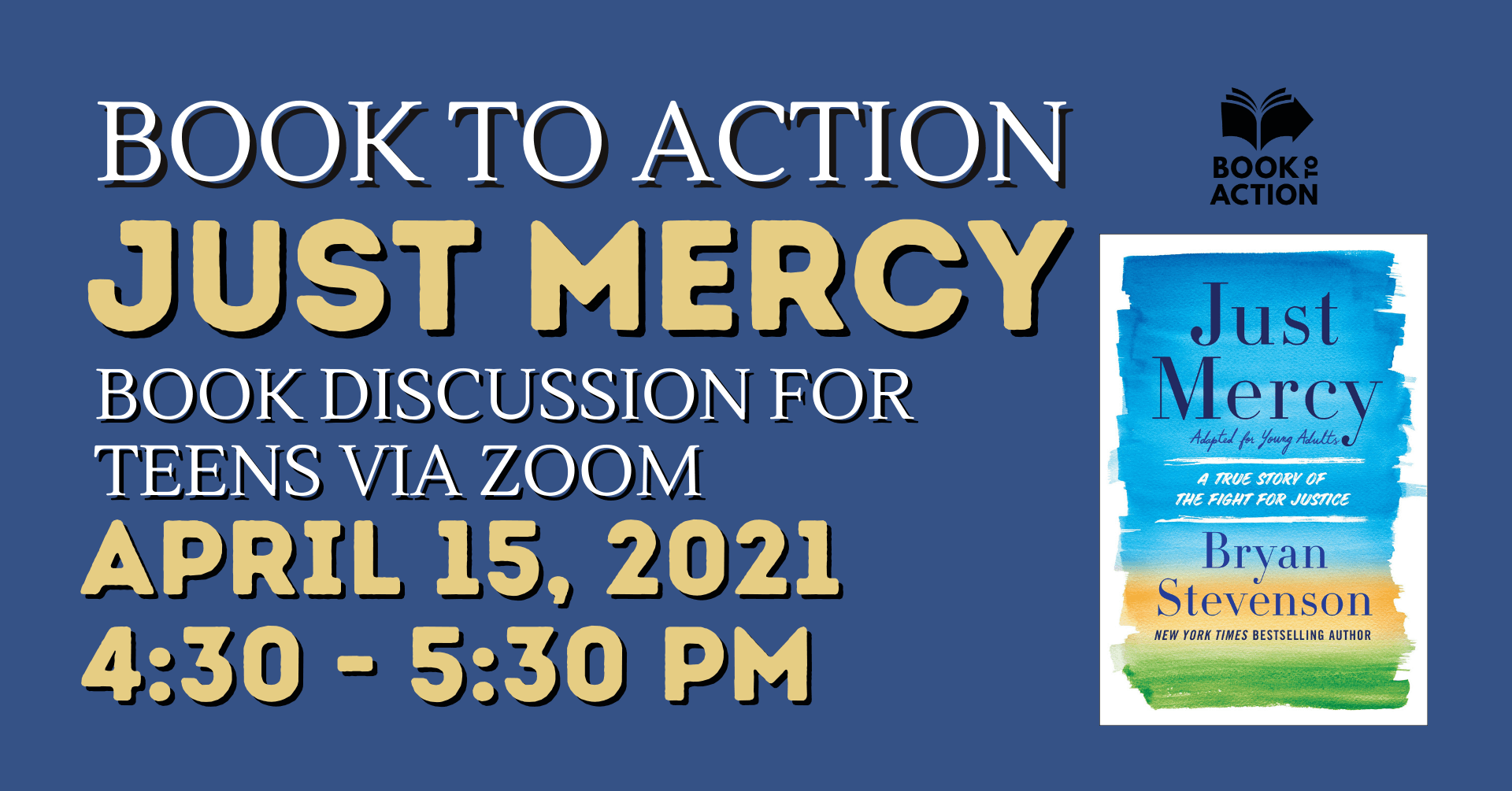 """""""Just Mercy"""" book club for teens on April 15 at 4:30 pm"""