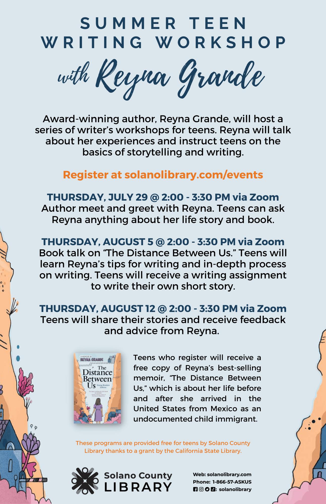 Summer Teen Writing Workshop With Reyna Grande Program