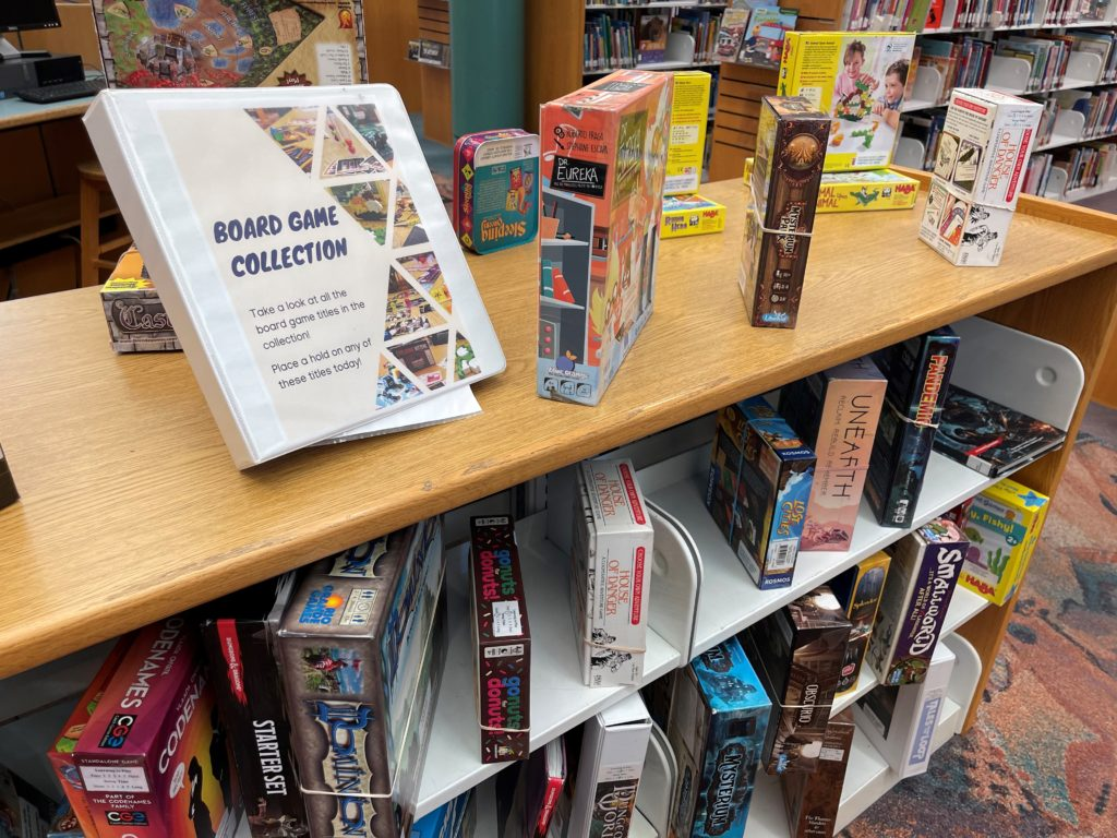 Board Game collection at the Vacaville Cultural Center Library
